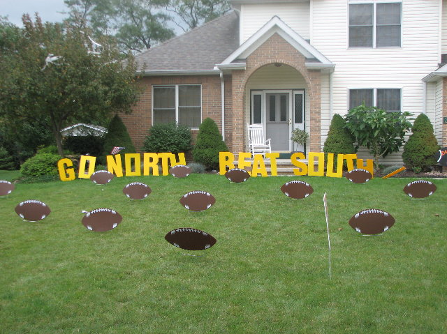 go north beat south lawn letters wfootballs