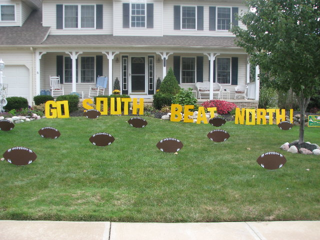 go south beat north lawn letters wfootballs